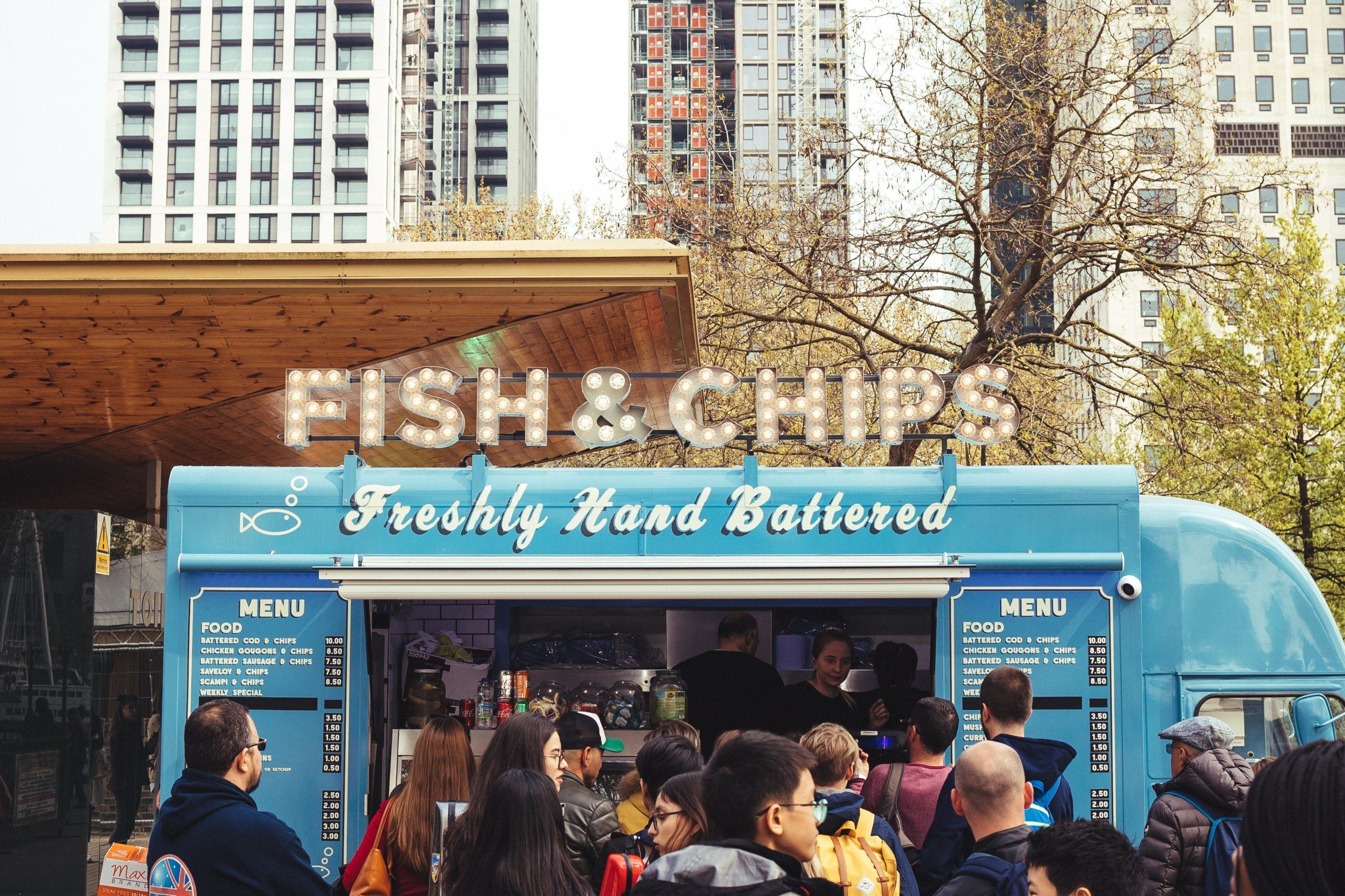 Image of a fish and chips food truck