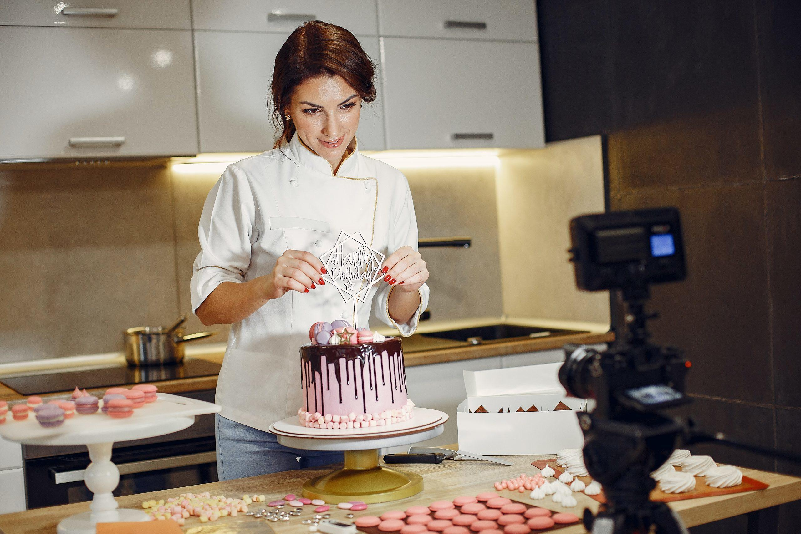 A pastry chef in the kitchen